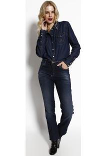 Camisa Jeans Import Com Bolsos- Azul Escuro- Wranglewrangler