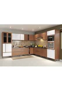 Cozinha Completa Multimóveis 24 Portas 5 Gavetas Nogueira/Branca