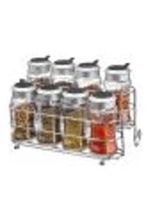 Porta Temperos E Condimentos Em Vidro Com Suporte 9 Peças