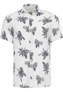 Camisa Masculina Floral Christiania - Branco