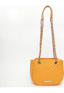 Bolsa Em Couro Matelassãª- Amarela- 18X22X7Cmjorge Bischoff
