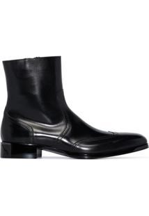 Santoni Ankle Boot De Couro Com Zíper - Preto