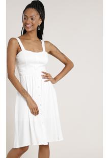 Vestido Feminino Midi Com Botões Alça Média Off White