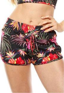 Shorts Curto Feminino Duna Casual - Feminino-Preto+Rosa