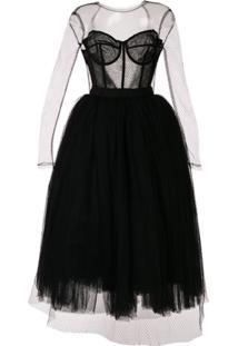 Dolce & Gabbana Vestido Com Tule - Preto