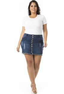 Shorts Saia Feminino Jeans Com Abotoamento Plus Size - Kanui