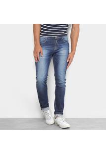 Calça Jeans Skinny Rockblue Estonada Masculina - Masculino-Azul