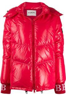 Iceberg Hooded Zip Down Jacket - Vermelho