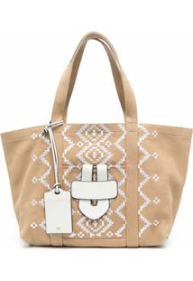 Tila March Simple Embroidered Tote Bag - Neutro