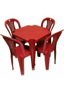 Conjunto Mesa E 4 Cadeiras Bistro Plastico Vinho