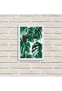 Porta Chaves Decorativos Estampados Luxo Folhas Verdes Branco