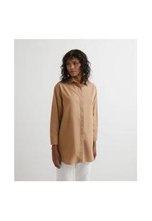 Camisa Alongada Em Tricoline Sem Estampa | Marfinno | Bege | Gg
