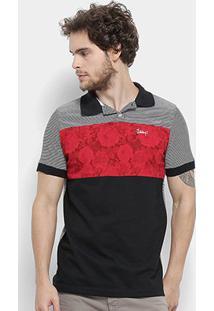 Camisa Polo Jimmy'Z Listras E Flores Masculina - Masculino-Preto+Vermelho