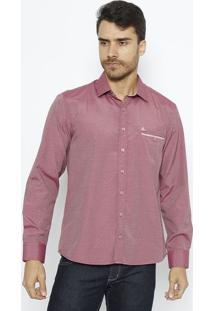 Camisa Slim Fit Geométrica Com Bordado & Bolso - Vermelhvip Reserva