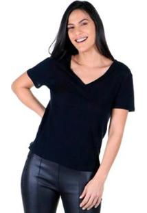 Camiseta Decote V Lisa Feminina - Feminino