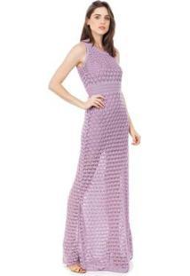 Vestido Longo Pink Tricot Renda Rodado Feminino - Feminino-Lilás