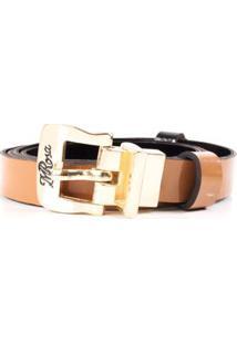 Cinto Cintura Quadril Skinny Dupla Face Preto/Caramelo