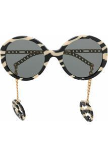 Gucci Eyewear Óculos De Sol Redondo Com Listras De Zebra - Preto