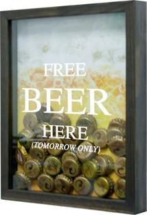 Quadro Porta Tampinhas De Cervejas Free Beer Betume