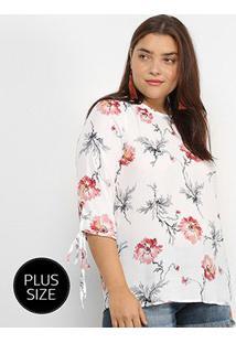 Blusa Lemise Manga Curta Floral Plus Size Feminina - Feminino-Branco