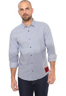 Camisa Calvin Klein Jeans Slim Fit Azul/Branca