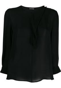 Emporio Armani Asymmetrical Silk Blouse - Preto