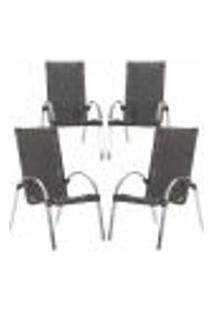 Cadeiras 4Un Para Area Varanda Fibra Sintetica Sala Cozinha Jardim Sacada Garden - Tabaco