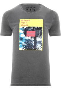 Camiseta Masculina Botonê Colorido - Cinza