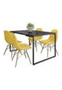 Mesa De Jantar Rivera Preto F01 Com 04 Cadeiras Eiffel Charles Eames Botonê Amarelo - Lyam Decor