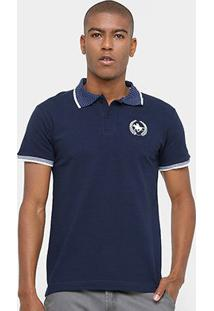 Camisa Polo Rg 518 Gola Poá Masculina - Masculino-Marinho