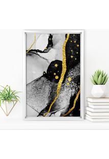 Quadro Love Decor Com Moldura Chanfrada Abstrato Branco - Grande