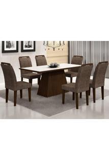 Conjunto Sala De Jantar Mesa Vidro Branco Luna 6 Cadeiras Athenas Castor/ Suede Amassado Chocolate