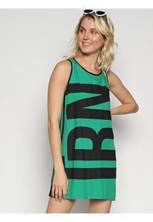 Vestido Triton Curto Estampado - Feminino-Verde Limão