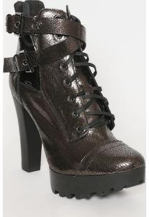 Ankle Boot Meia Pata Em Couro Metalizado- Chumbo & Pretacarmen Steffens