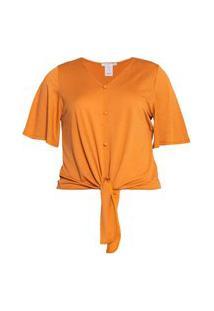 Blusa Amarração Frontal Almaria Plus Size Caroll Collection Decote Amarelo