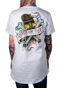 Camiseta Artseries Longline Skate Or Die Branco