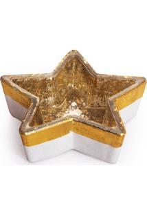 Castiçal Estrela Vidro 3Cm Ouro