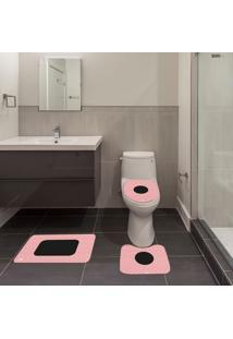 Jogo De Banheiro Abstrato Rosa Único