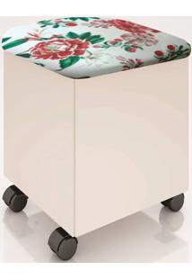 Puff Com Bau Rubi Cor Off White Com Assento Belize Floral - 52625 - Sun House