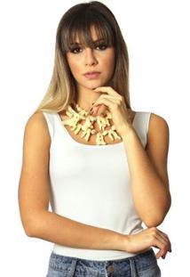 Regata Ficalinda Palha Decote Redondo Feminina - Feminino-Off White