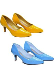 Kit 2 Scarpin Caminar Shoes Liso Verniz Baixo Feminino - Feminino-Amarelo+Azul