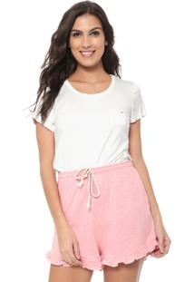 Short-Doll Cor Com Amor Babados Off-White/Rosa