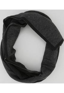 Cachecol Dupla Face Em Tricô Cinza Escuro - Único