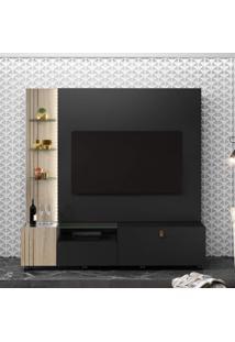 Estante Home Para Tv 65 Polegadas 1 Gaveta Valência Belaflex Preto Fosco/Carvalho Viena