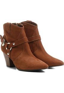 Bota Couro Country Shoestock Salto Selaria Feminina - Feminino