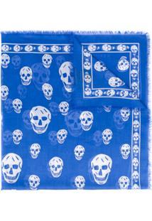 ... Alexander Mcqueen Echarpe Com Padronagem - Azul 6a9bd52674b