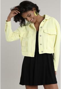 Jaqueta De Sarja Feminina Cropped Amarela Neon