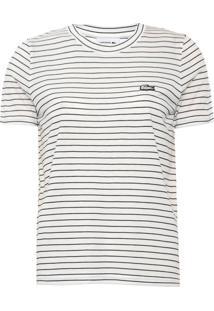 Camiseta Lacoste Listrada Off-White - Kanui
