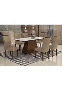 Conjunto De Mesa Lunara I Com Vidro E 6 Cadeiras Suede Amassado Castor E Chocolate