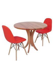 Conjunto Mesa De Jantar Tampo De Madeira 90Cm Com 2 Cadeiras Botonê - Vermelho